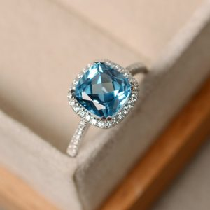 Swiss blue topaz ring, cushion cut, sterling silver, gemstone | Natural genuine Gemstone rings, simple unique handcrafted gemstone rings. #rings #jewelry #shopping #gift #handmade #fashion #style #affiliate #ad