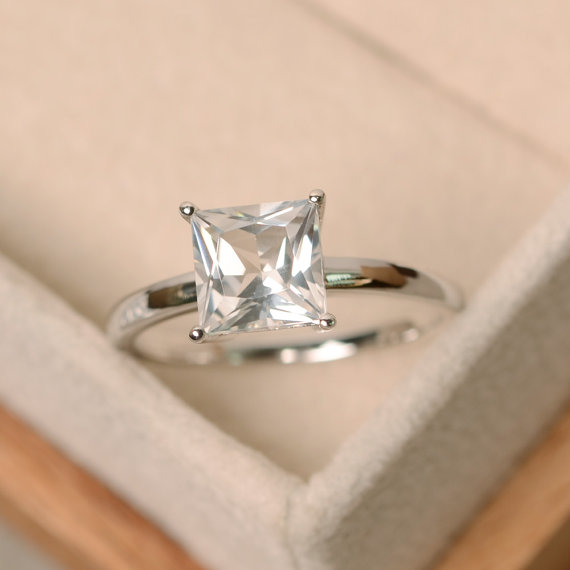 White Topaz Ring, Sterling Silver, Solitaire Ring, Princess Cut Ring, White Topaz