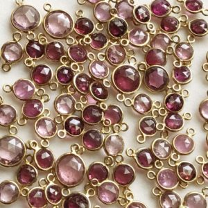 Shop Tourmaline Beads! 11-12mm Pink Tourmaline Bezel Connectors, Pink Tourmaline Faceted Round Both Side Cut 925 Silver Gold Polish Bezel Findings – KS3336 | Natural genuine beads Tourmaline beads for beading and jewelry making.  #jewelry #beads #beadedjewelry #diyjewelry #jewelrymaking #beadstore #beading #affiliate #ad