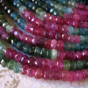 Shop Tourmaline Beads! 10-100 pcs / TOURMALINE RONDELLES Beads Gemstones Gems / 3 mm, Luxe AAA, Faceted Pink and Green Tourmaline / October birthstone wt 30 | Natural genuine beads Tourmaline beads for beading and jewelry making.  #jewelry #beads #beadedjewelry #diyjewelry #jewelrymaking #beadstore #beading #affiliate #ad