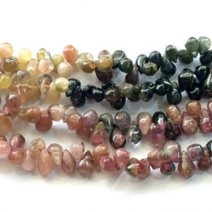 Shop Tourmaline Bead Shapes! Tourmaline Multi Tourmaline Briolette Beads, Tear Drop Bead, Raw Multi Tourmaline, Multi Tourmaline Necklace 7x4mm – 9x5mm, 5 In | Natural genuine other-shape Tourmaline beads for beading and jewelry making.  #jewelry #beads #beadedjewelry #diyjewelry #jewelrymaking #beadstore #beading #affiliate