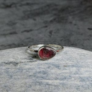 Shop Tourmaline Rings! Raw Tourmaline Ring, Sterling Silver, Rough Pink Tourmaline, Natural Gemstone Ring, October Birstone, Rustic Jewelry | Natural genuine Tourmaline rings, simple unique handcrafted gemstone rings. #rings #jewelry #shopping #gift #handmade #fashion #style #affiliate #ad