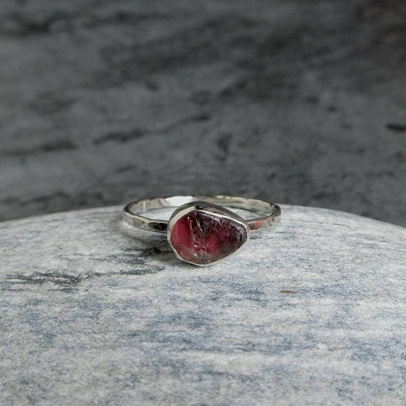 Raw Tourmaline Ring, Sterling Silver, Rough Pink Tourmaline, Natural Gemstone Ring, October Birstone, Rustic Jewelry