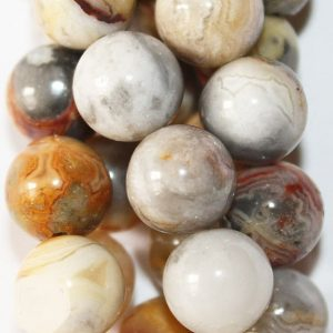 "Shop Crazy Lace Agate Beads! Crazy Lace Agate Beads – Round 10 mm Gemstone Beads – Full Strand 15 1/2"", 38 beads, A Quality 