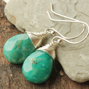 Amazonite Earrings, Sterling Silver Wire Wrap, Green Gemstone Minimalist Dangle Earrings, Authentic Artisan, Holiday Gift For Her, 4416