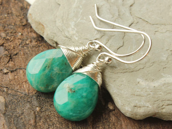 Amazonite Sterling Silver Earrings Wire Wrapped Natural Green Gemstone Minimalist Simple Statement Dangle Drops Holiday Gift For Her 4416
