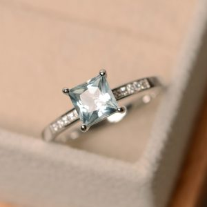 Aquamarine engagement ring | Natural genuine Array rings, simple unique alternative gemstone engagement rings. #rings #jewelry #bridal #wedding #jewelryaccessories #engagementrings #weddingideas #affiliate #ad