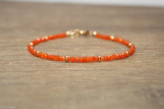 Carnelian Bracelet, Gold Filled, Sterling Silver Or Rose Gold Beads, Carnelian Jewelry, Orange, Stacking, Gemstone Jewelry, Gifts For Her