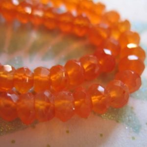 Shop Carnelian Beads! CARNELIAN  Rondelles Beads, Luxe AAA, 1/2 Strand, 3.5-4 mm, Fanta Orange, faceted.. july birthstone.fall | Natural genuine beads Carnelian beads for beading and jewelry making.  #jewelry #beads #beadedjewelry #diyjewelry #jewelrymaking #beadstore #beading #affiliate #ad