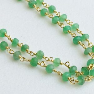 Shop Chrysoprase Faceted Beads! Chrysoprase Faceted Rondelle Beads Connector Chains in 925 Silver Gold Plate Wire Wrapped Rosary Style Chain By Foot – KS3360 | Natural genuine faceted Chrysoprase beads for beading and jewelry making.  #jewelry #beads #beadedjewelry #diyjewelry #jewelrymaking #beadstore #beading #affiliate #ad