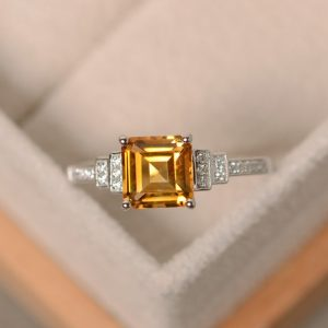 Citrine Ring, Square Cut, Crystal Ring, Sterling Silver, Engagement Ring