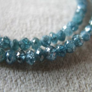 Shop Rondelle Gemstone Beads! 5-20 pcs / 1.5-2 or 2-2.5 mm BLUE DIAMOND Beads Diamond Rondelle Beads / Luxe AAA, Something Blue brides bridal weddings drb 20 25 tr | Natural genuine rondelle Gemstone beads for beading and jewelry making.  #jewelry #beads #beadedjewelry #diyjewelry #jewelrymaking #beadstore #beading #affiliate #ad