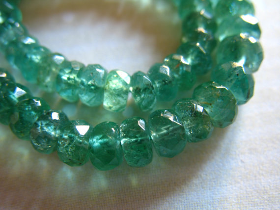 Zambian Emerald Rondelles Beads / 10-50 Pc, Luxe Aaa, 3-4 Mm, Gorgeous Green, Faceted, Holidays Bridal May Birthstone True Tr E