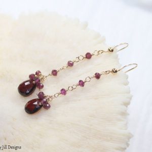 Shop Garnet Earrings! Garnet Earrings, Rhodolite Garnet, Gold Filled, Wire Wrap, Gemstone Jewelry, January Birthstone, Red Pink Cluster Earrings, Garnet Jewelry | Natural genuine Garnet earrings. Buy crystal jewelry, handmade handcrafted artisan jewelry for women.  Unique handmade gift ideas. #jewelry #beadedearrings #beadedjewelry #gift #shopping #handmadejewelry #fashion #style #product #earrings #affiliate #ad