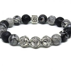 Shop Jasper Bracelets! Volcanic Lava Stone, Black Veined Jasper, And Grey Jasper Bracelet, Men's Silver Bracelet, Men's Luxury Bracelet, Men's Beaded Bracelet | Natural genuine Jasper bracelets. Buy crystal jewelry, handmade handcrafted artisan jewelry for women.  Unique handmade gift ideas. #jewelry #beadedbracelets #beadedjewelry #gift #shopping #handmadejewelry #fashion #style #product #bracelets #affiliate #ad