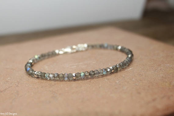 Labradorite Bracelet, Sterling Silver, Rose Gold Or Gold Filled Beads, Labradorite Jewelry, Blue Flash, Gemstone Jewelry