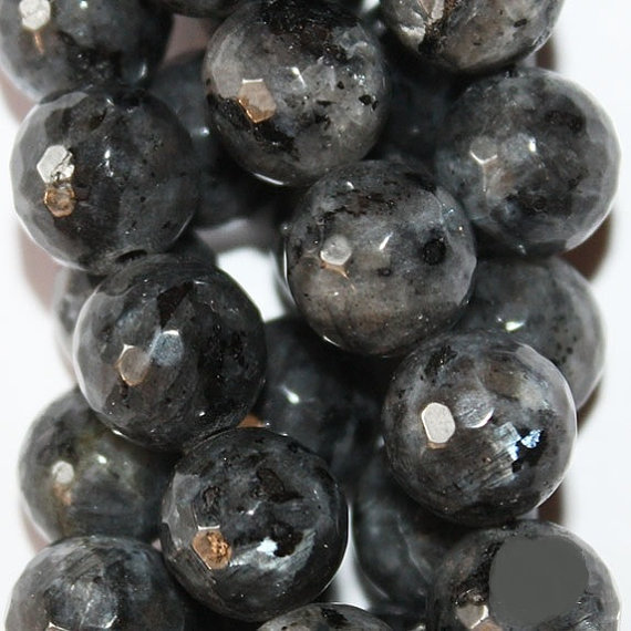 """Genuine Faceted Larvikite, Black Labradorite - Faceted Round 10 Mm Gemstone Beads - Full Strand 15"""", 36 Beads, Aa Quality"""