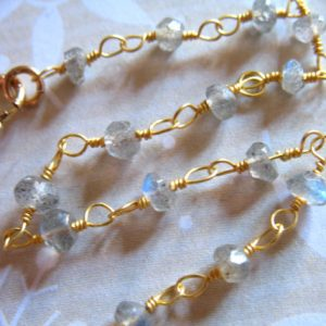 "Shop Labradorite Rondelle Beads! 14 to 36""  / Finished Labradorite Rosary Chain, Finished Necklace Chain, Wire Wrapped Beaded Gemstone Rondelle Chain, done drc rc2 