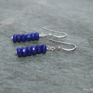 Lapis Earrings, Lapis Jewelry, Lazuli, Wire Wrapped, Sterling Silver, Everyday Earrings, Gemstone Earrings | Natural genuine Gemstone earrings. Buy crystal jewelry, handmade handcrafted artisan jewelry for women.  Unique handmade gift ideas. #jewelry #beadedearrings #beadedjewelry #gift #shopping #handmadejewelry #fashion #style #product #earrings #affiliate #ad