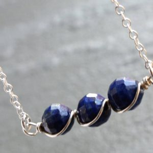 Shop Lapis Lazuli Necklaces! Lapis Lazuli Bar Necklace Sterling Silver wire wrapped royal blue gemstone beaded pendant minimalist modern December birthstone gift 4294 | Natural genuine Lapis Lazuli necklaces. Buy crystal jewelry, handmade handcrafted artisan jewelry for women.  Unique handmade gift ideas. #jewelry #beadednecklaces #beadedjewelry #gift #shopping #handmadejewelry #fashion #style #product #necklaces #affiliate #ad