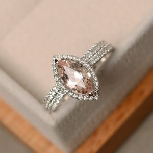 Shop Morganite Jewelry! Morganite engagement ring, marquise ring, silver | Natural genuine Morganite jewelry. Buy handcrafted artisan wedding jewelry.  Unique handmade bridal jewelry gift ideas. #jewelry #beadedjewelry #gift #crystaljewelry #shopping #handmadejewelry #wedding #bridal #jewelry #affiliate #ad