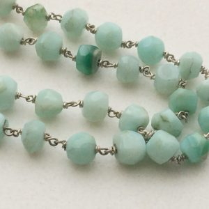 Blue Opal Faceted Rondelle Beads in 925 Silver Wire Wrapped Rosary Style Chain Blue Opal Beaded Chain, By Foot