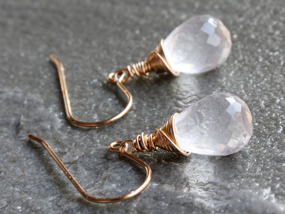 Ice Quartz Earrings Gold Filled Or Sterling Silver Wire Wrapped Natural Crystal Clear Gemstone Minimalist Simple Dainty Dangles Gift 4324
