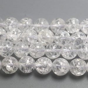Shop Quartz Crystal Round Beads! Natural Snow Rock Crystal Quartz Beads,Smooth and Round Stone Beads,15 inches one starand | Natural genuine round Quartz beads for beading and jewelry making.  #jewelry #beads #beadedjewelry #diyjewelry #jewelrymaking #beadstore #beading #affiliate #ad