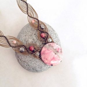 Pink Rhodonite necklace, Rhodonite macrame necklace, Round shape, pink Rhodonite macrame necklace, gemstone, Boho, Love, meaningful gift | Natural genuine Rhodonite necklaces. Buy crystal jewelry, handmade handcrafted artisan jewelry for women.  Unique handmade gift ideas. #jewelry #beadednecklaces #beadedjewelry #gift #shopping #handmadejewelry #fashion #style #product #necklaces #affiliate #ad