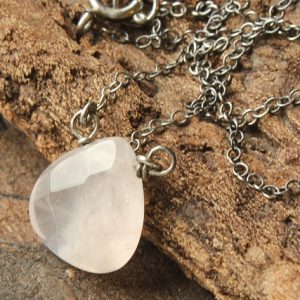 Shop Rose Quartz Necklaces! Rose Quartz Necklace, oxidized Sterling Silver, light pink gemstone wire wrap, modern minimalist everyday, Valentine gift for her, 4435 | Natural genuine Rose Quartz necklaces. Buy crystal jewelry, handmade handcrafted artisan jewelry for women.  Unique handmade gift ideas. #jewelry #beadednecklaces #beadedjewelry #gift #shopping #handmadejewelry #fashion #style #product #necklaces #affiliate #ad