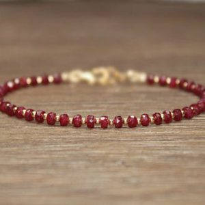 Shop Ruby Jewelry! Ruby Bracelet, Gold Filled, Rose Gold or Sterling Silver Beads, Ruby Jewelry, July Birthstone, Stacking, Gemstone Jewelry, Valentine's Day | Natural genuine Ruby jewelry. Buy crystal jewelry, handmade handcrafted artisan jewelry for women.  Unique handmade gift ideas. #jewelry #beadedjewelry #beadedjewelry #gift #shopping #handmadejewelry #fashion #style #product #jewelry #affiliate #ad