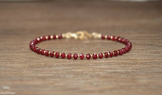 Ruby Bracelet, Gold Filled, Rose Gold Or Sterling Silver Beads, Ruby Jewelry, July Birthstone, Stacking, Gemstone Jewelry, Valentine's Day