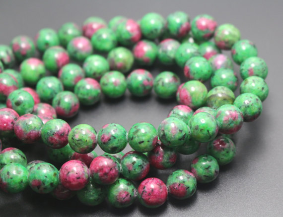 6mm/8mm/10mm/12mm Dyed Ruby Zoisite Beads,smooth And Round Stone Beads,15 Inches One Starand