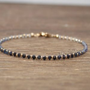 Shop Sapphire Jewelry! Dainty Shaded Blue Sapphire Bracelet, Gold Filled, Sterling Silver or Rose Gold, Stacking Bracelet, Sapphire Jewelry, September Birthstone, | Natural genuine Sapphire jewelry. Buy crystal jewelry, handmade handcrafted artisan jewelry for women.  Unique handmade gift ideas. #jewelry #beadedjewelry #beadedjewelry #gift #shopping #handmadejewelry #fashion #style #product #jewelry #affiliate #ad