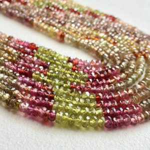 Multi Sapphire Beads, Multi Sapphire Faceted Rondelles, 2.5-3mm Beads 8 Inch Strand, Multi Sapphire Necklace – Pgpa56