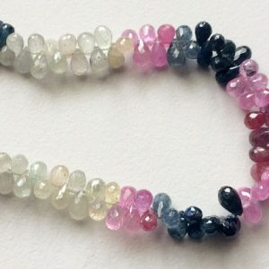 Multi Sapphire Beads, Multi Sapphire Faceted Teardrop Beads, Sapphire Necklace, 4x5mm – 5x7mm, 26 Pcs – As3179
