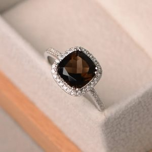 Natural Smoky Quartz Ring, Cushion Cut Engagement Rings, Gemstone Ring, Sterling Silver, Halo Ring