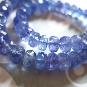 TANZANITE Rondelles Beads, Faceted / 10-100 pcs, 3-4 mm / Luxe AAA, Periwinkle Blue, december birthstone brides bridal wedding..34 | Natural genuine faceted Tanzanite beads for beading and jewelry making.  #jewelry #beads #beadedjewelry #diyjewelry #jewelrymaking #beadstore #beading #affiliate #ad