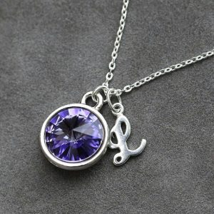 Tanzanite Necklace, December Birthstone Jewelry, Custom Letter Jewelry, Personalized New Mom Initial Necklace