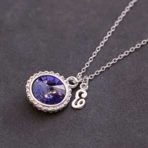 December Tanzanite Jewelry, Initial Birthstone Necklace, December Birthstone Gift, Personalized Mother's Jewelry