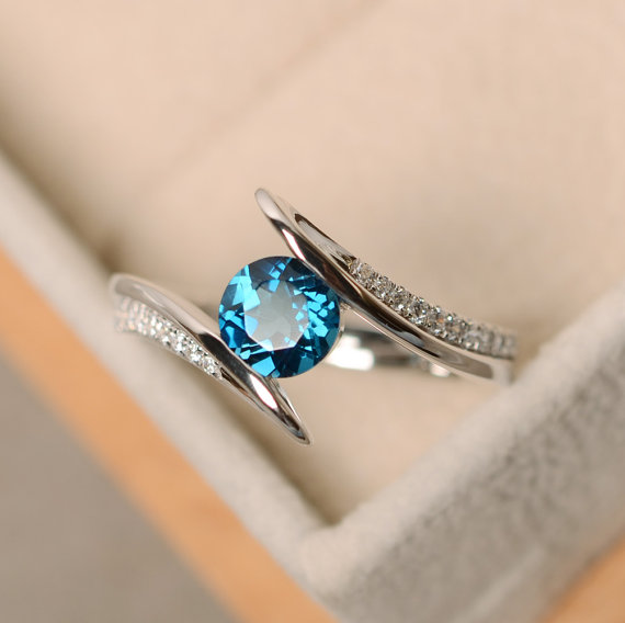 London Blue Topaz Ring, Engagement Ring, Wedding Ring, Sterling Silver