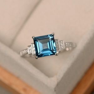 Shop Topaz Jewelry! London blue topaz ring, square cut ring, sterling silver, engagement ring | Natural genuine gemstone jewelry in modern, chic, boho, elegant styles. Buy crystal handmade handcrafted artisan art jewelry & accessories. #jewelry #beaded #beadedjewelry #product #gifts #shopping #style #fashion #product