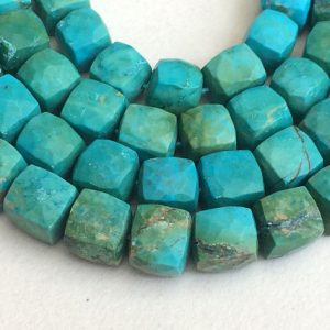 Turquoise Faceted Cube Beads, Chinese Turquoise Box Beads, Turquoise Necklace 6-8mm, 8 Inch, 25 Pcs – Gsa10
