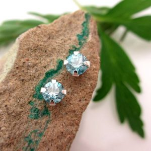Blue Zircon Studs – Genuine Blue Zircon Stud Earrings In Real 14k Gold, Sterling Silver, Or Platinum – 4mm