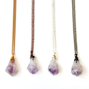 Raw Amethyst necklace – February birthstone | Natural genuine Amethyst necklaces. Buy crystal jewelry, handmade handcrafted artisan jewelry for women.  Unique handmade gift ideas. #jewelry #beadednecklaces #beadedjewelry #gift #shopping #handmadejewelry #fashion #style #product #necklaces #affiliate #ad