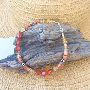 Carnelian Anklet, Orange Stones Beaded Anklet, Ethnic Ankle Chain, Ankle Bracelet, Warm Colors, Beach Jewelry, Natural Carnelian, Boho Style