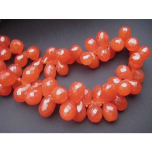 Carnelian – 14×8 To 9x5mm Approx. Drop Shaped Faceted Carnelian –  Half Strand – 7 Inches – 35-36 Pieces