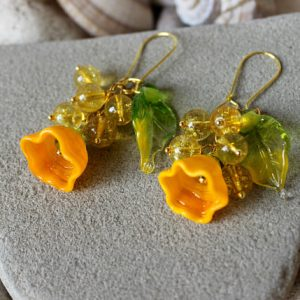 Shop Citrine Earrings! Citrine Earrings, Lampwork Flower Earrings, Murano Earrings, Lampwork Jewelry, Yellow Flower Earrings, Yellow Bead Earrings, Citrine Jewelry | Natural genuine Citrine earrings. Buy crystal jewelry, handmade handcrafted artisan jewelry for women.  Unique handmade gift ideas. #jewelry #beadedearrings #beadedjewelry #gift #shopping #handmadejewelry #fashion #style #product #earrings #affiliate #ad