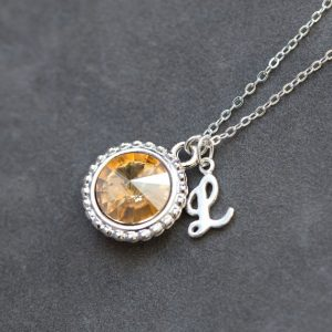 November Birthstone Citrine Necklace, Custom Letter Citrine Jewelry, New Mother Mom Gift, Birthstone Initial Necklace