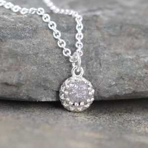 Raw Diamond Necklace – Antique Look – Rustic Round Shape – Sterling Silver – Rough Uncut Diamond Pendant – April Birthstone